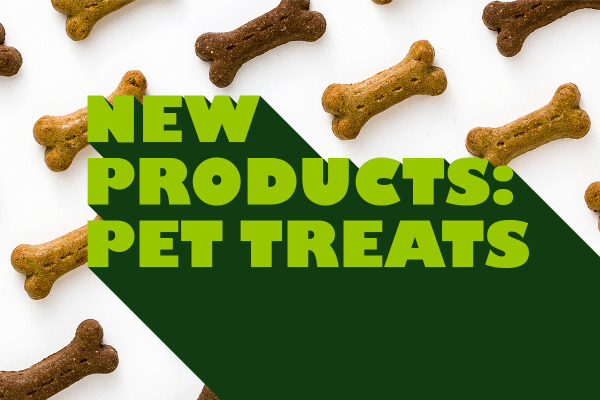 New products: pet treats with milk bone background