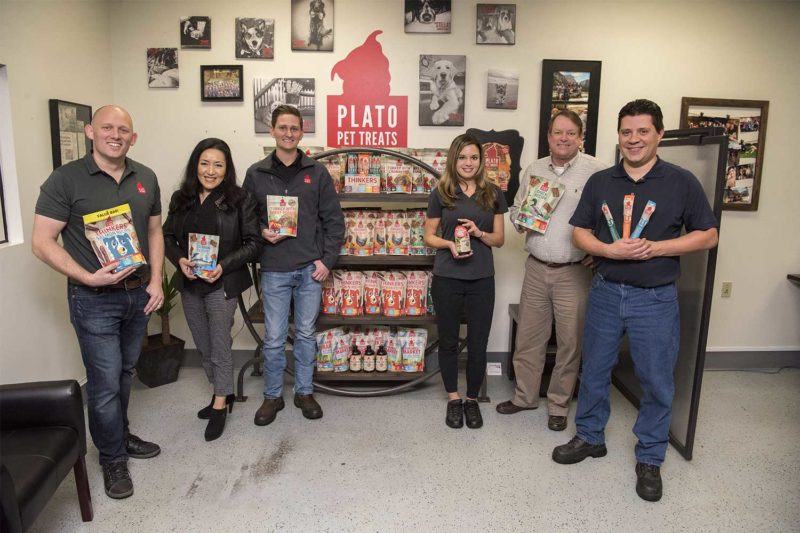Plato Pet Treats is headquartered in Fresno, California. It runs two production lines, one for small bites and strips and another for meat sticks, in its 60,000-sq.-ft. facility.  From left: Aaron Merrell, Albeena Rivera, Colter Miller, Hanna Bemer, Ray Owen and Ricardo Salazar