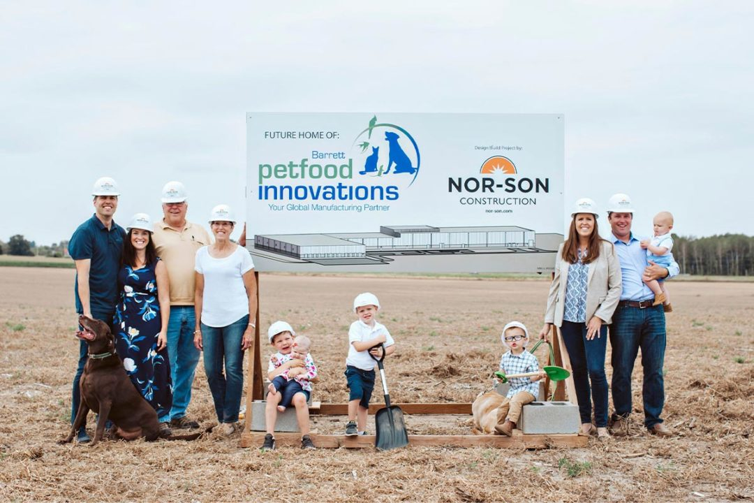 Three generations of Barrett family at groundbreaking of new Little Falls, Minnesota facility