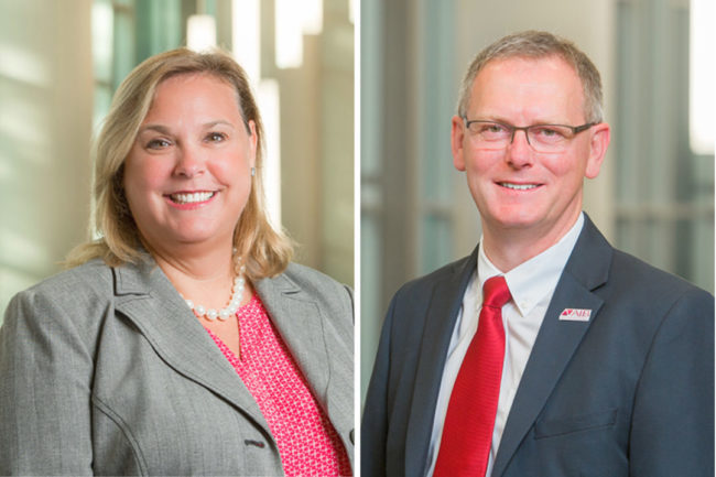Stephanie Lopez, current global vice president of operations, and Jeff Wilson, new global vice president of operations at AIB International