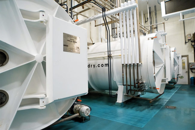 Freeze-drying systems are available in a variety of capacities. The larger systems can process up to 5,000 lbs of pre-freeze-dried product per cycle.
