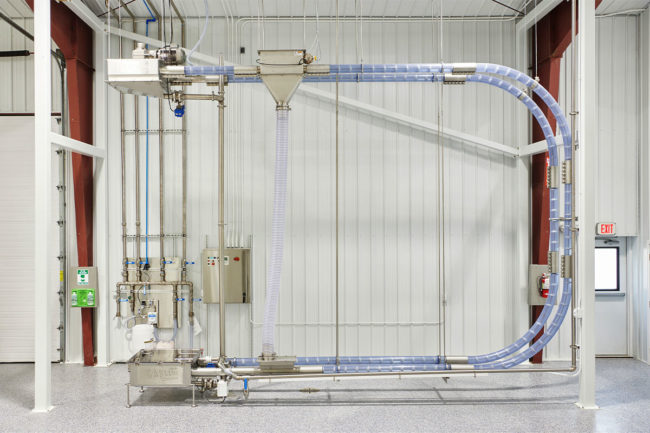 Cablevey Conveyors's gentle conveying of dry pet food and treat products uses no process air