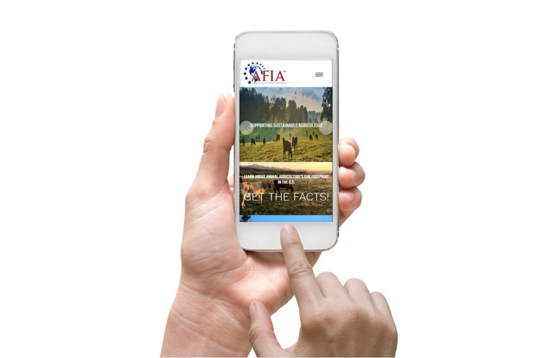 Person holding iPhone with AFIA website on screen (©STOCKR - STOCK.ADOBE.COM)