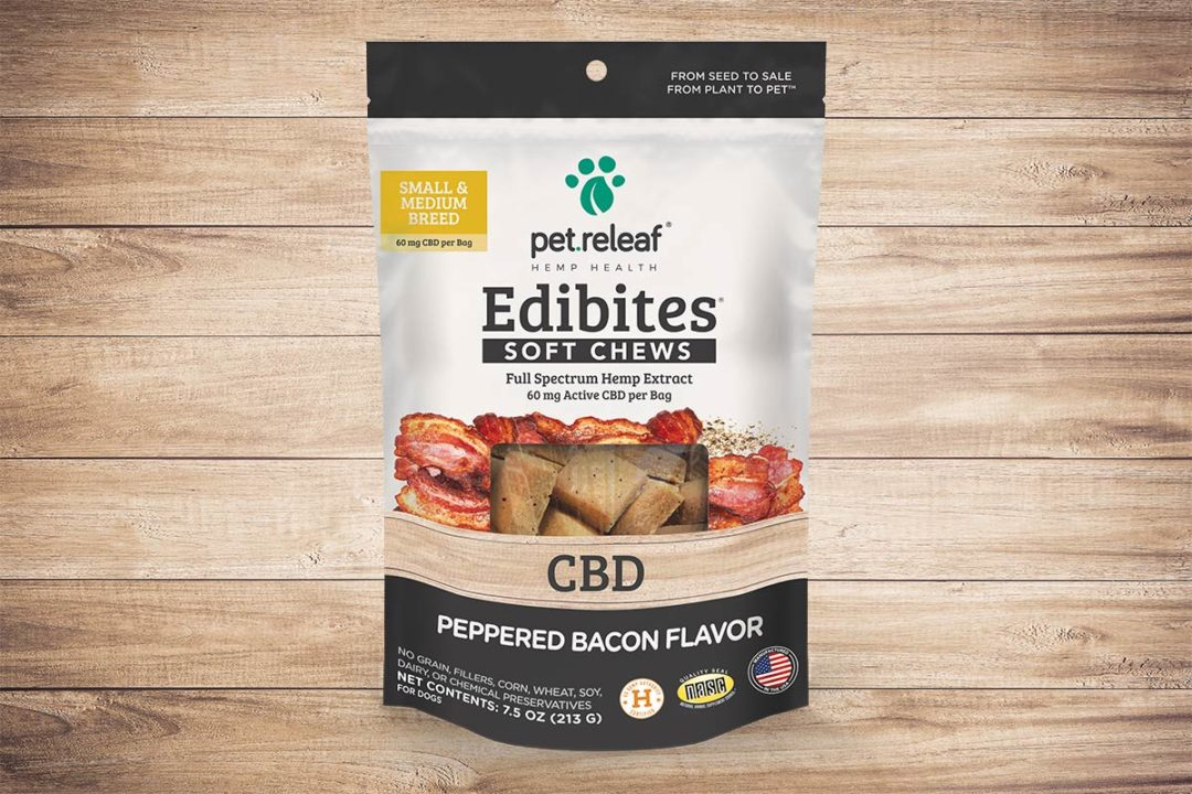 Pet Releaf Edibites now available in Peppered Bacon formula