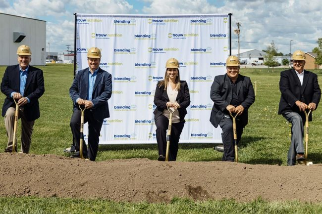 Trouw leaders break ground on pet food premix facility expansion in Highland, Ill.
