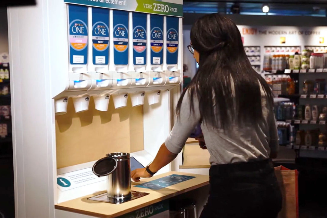 Purina pet foods offered in refillable, sustainable retail dispensers