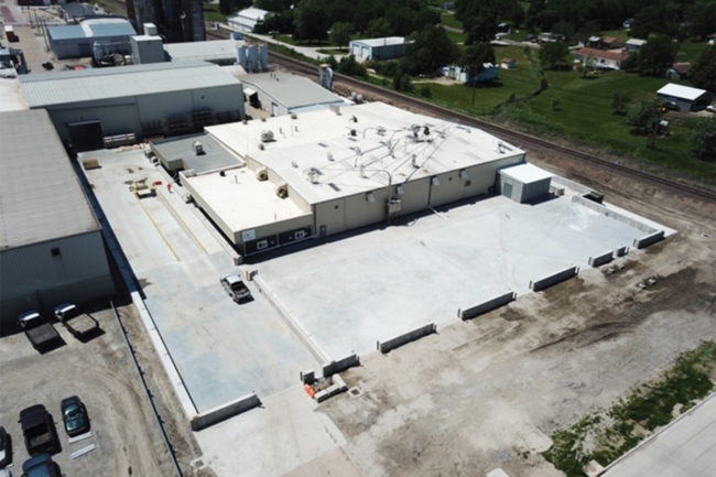 Birds-eye view of construction at Wenger's technical center in Sabetha, Kan.