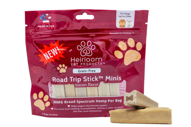 Water-soluble hemp stress relief chews for small dogs by Heirloom Pet Products
