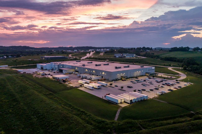 Simmons Pet Food's new Dubuque cannery at sunset