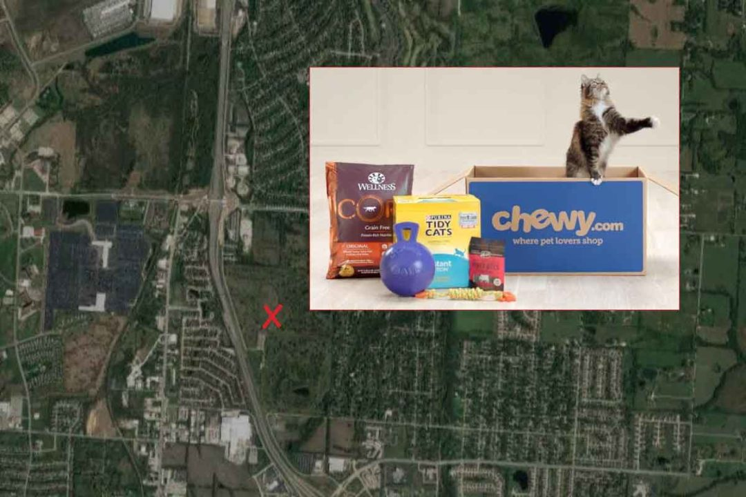 Aerial view of new Chewy location