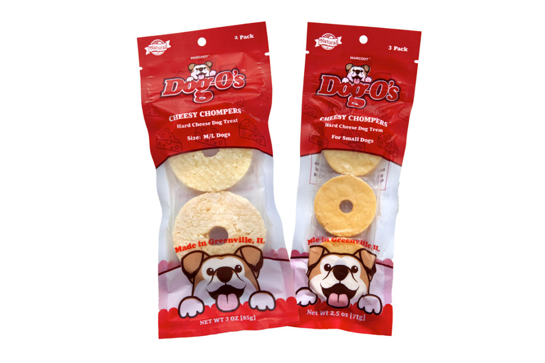 Dog-Os Cheesy Chompers dog treats in packaging
