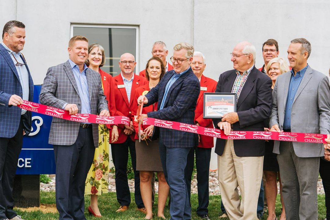 Simmons Pet Food's ribbon cutting ceremony in Dubuque, Iowa