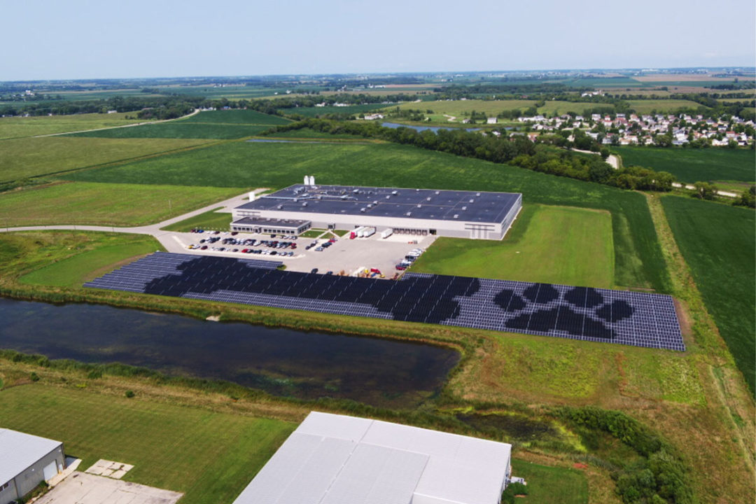 Solar array installed outside of Pedigree Ovens pet treat manufacturing facility