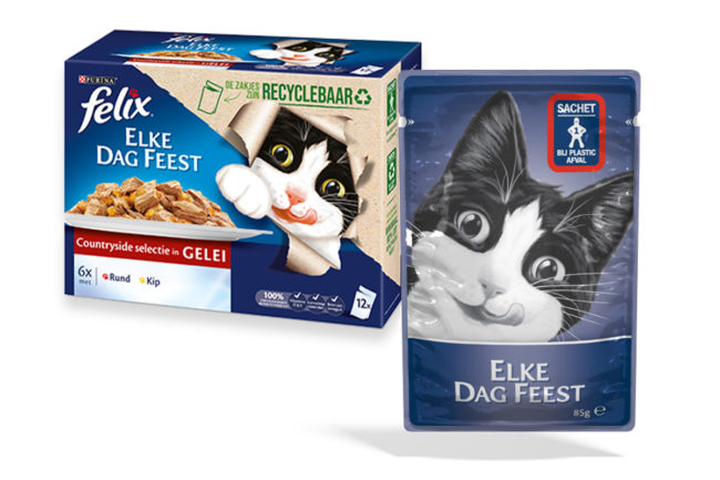 Purina and Amcor have developed a 100% recyclable pouch for wet cat food