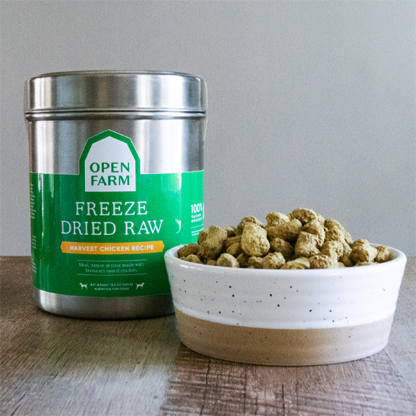 HOpen Farm's new freeze-dried dog food packaging through Loop