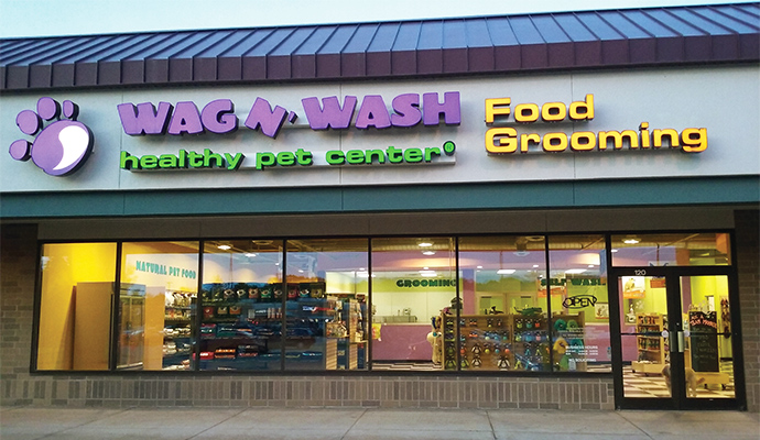 Outside view of Wag N' Wash pet specialty store