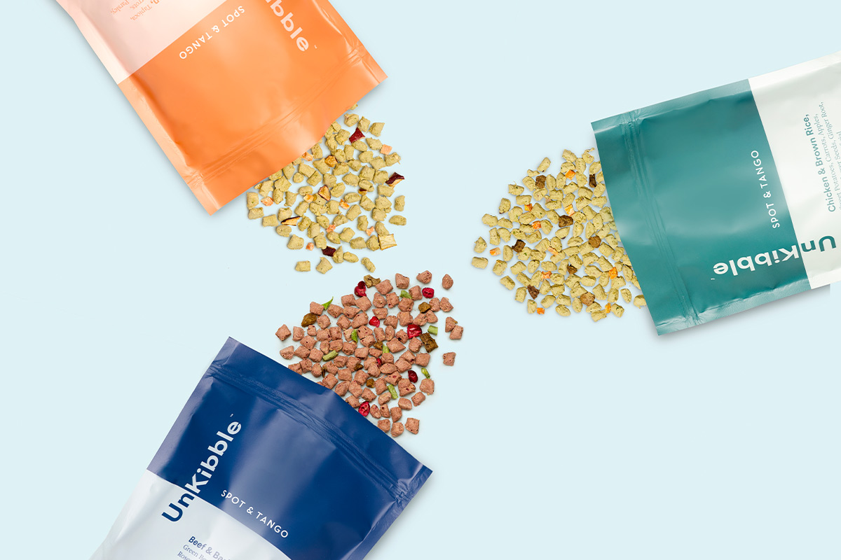 UnKibble, Spot & Tango's latest product, features fresh whole ingredients and inclusions in a kibble alternative format