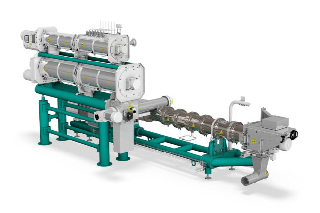 Bühler's PolyOne single-screw extruder for pet food, aqua feed