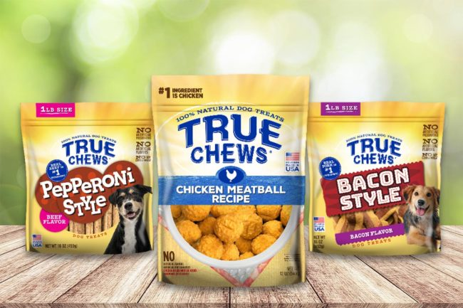 Tyson Foods True Chews dog treats: new Pepperoni Style and Bacon Style treats, and Chicken Meatball Recipe