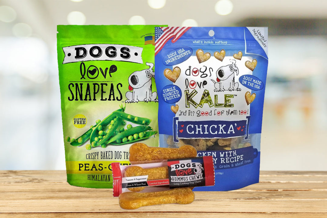 Dogs Love Us products: Dogs Love Snapeas, Dogs Love Kale, and Dogs Love Hummus Chews
