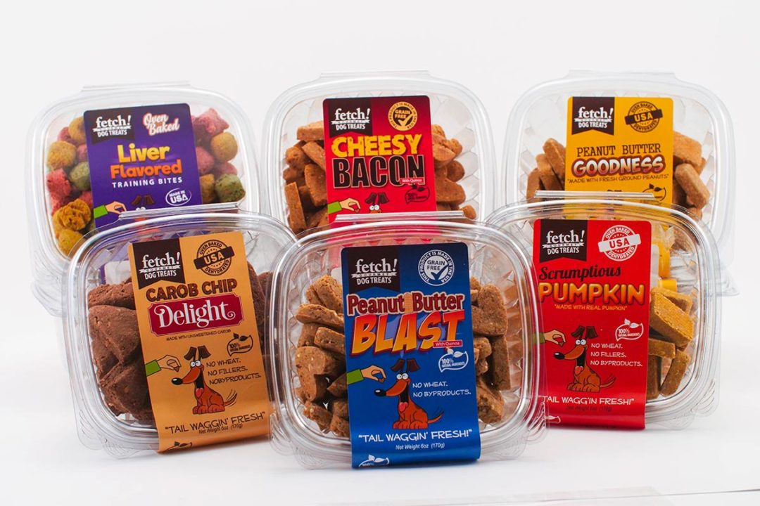 Assorted dog treat products by Fetch!