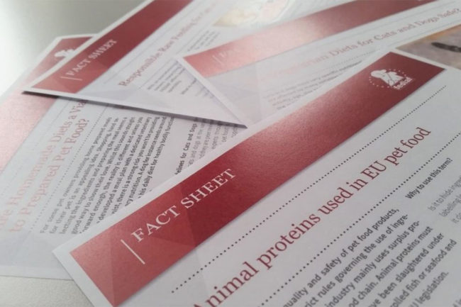 FEDIAF fact sheets laid out on table