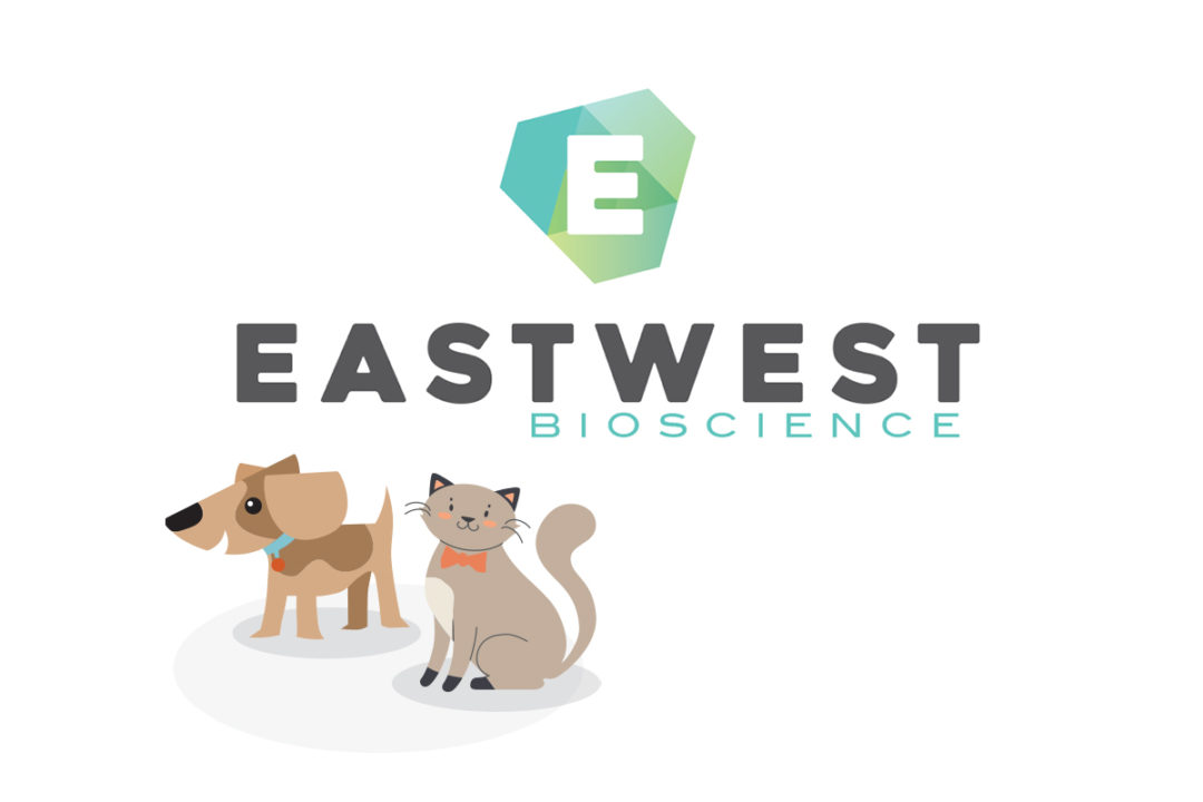 EastWest Bioscience logo with cartoon cat and dog graphic