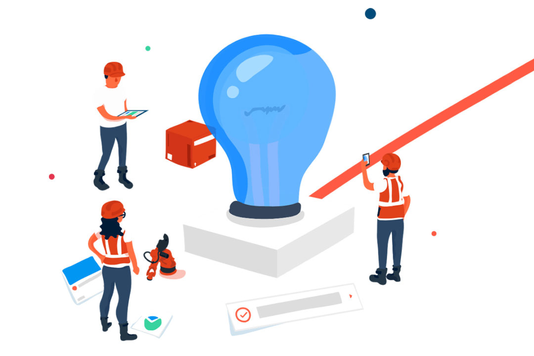 Cartoon employees powering ideas through collaborative software