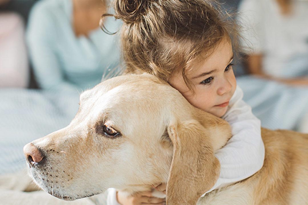 Little girl hugging pet dog