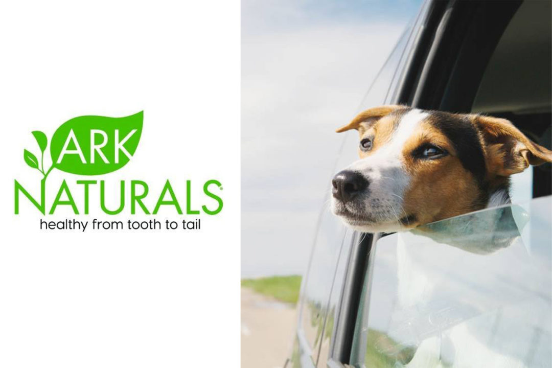 Ark Naturals logo and image of dog sticking head out car window