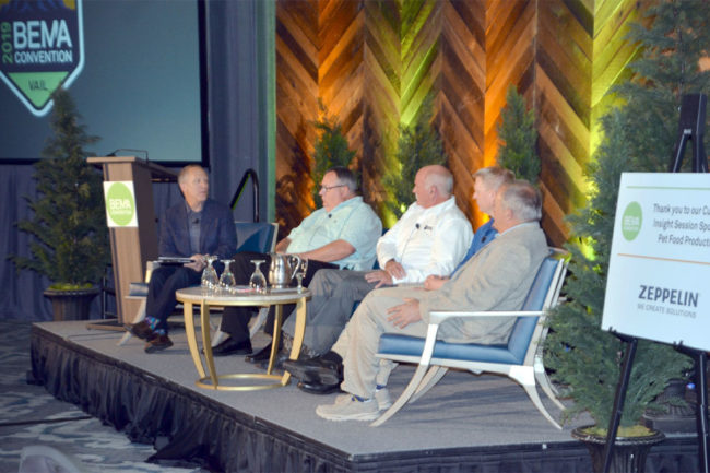 From left: Steve Berne, publisher of Pet Food Processing magazine, Todd Dunlop of Hampshire Pet Products, Rocky Kristek of Three Dog Bakery, Luke Koele of Stella & Chewy's, and Kurt Stricker of Pedigree Ovens.