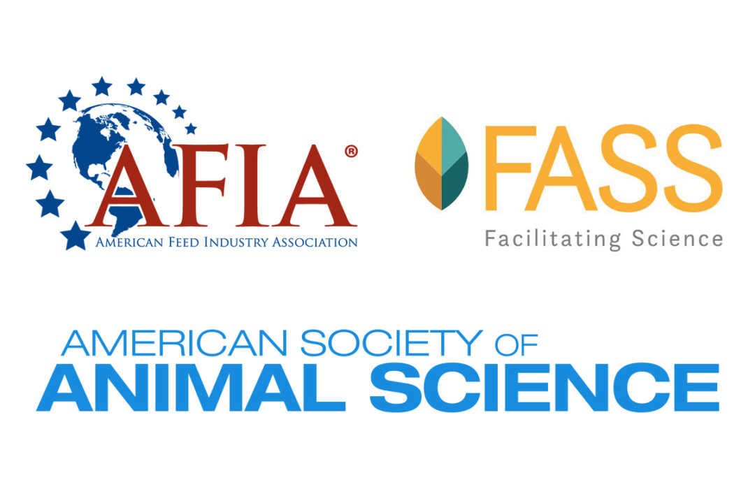 Logos for the American Feed Industry Association, Federation of Animal Science Societies, and American Society of Animal Science