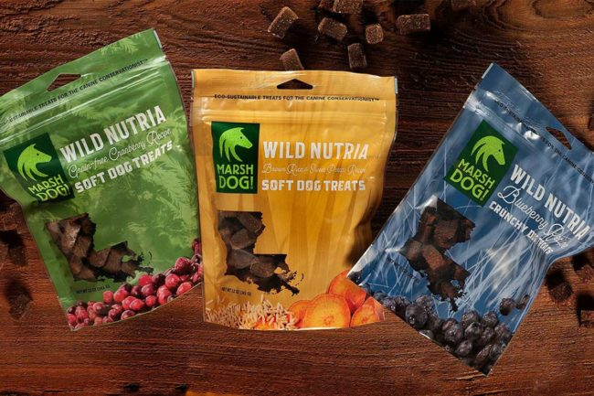Three new dog treats from Marsh Dog: Wild Nutria Blueberry, Wild Nutria Grain-Free Cranberry, and Wild Nutria Brown Rice and Sweet Potato