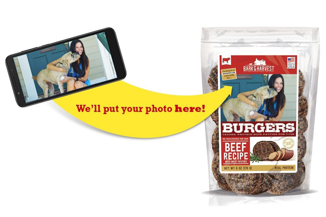 Personalized packaging deal available for Bark and Harvest patty-style dog treats