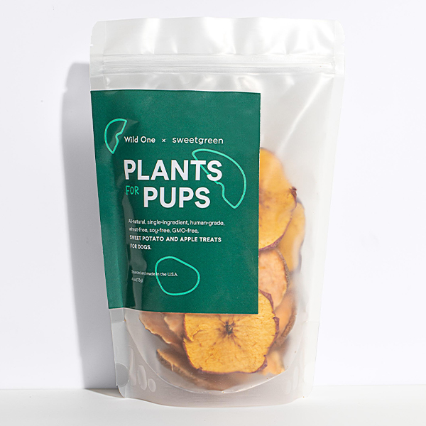 Wild One + Sweetgreen dehydrated apple and sweet potato dog treats, Plants for Pups