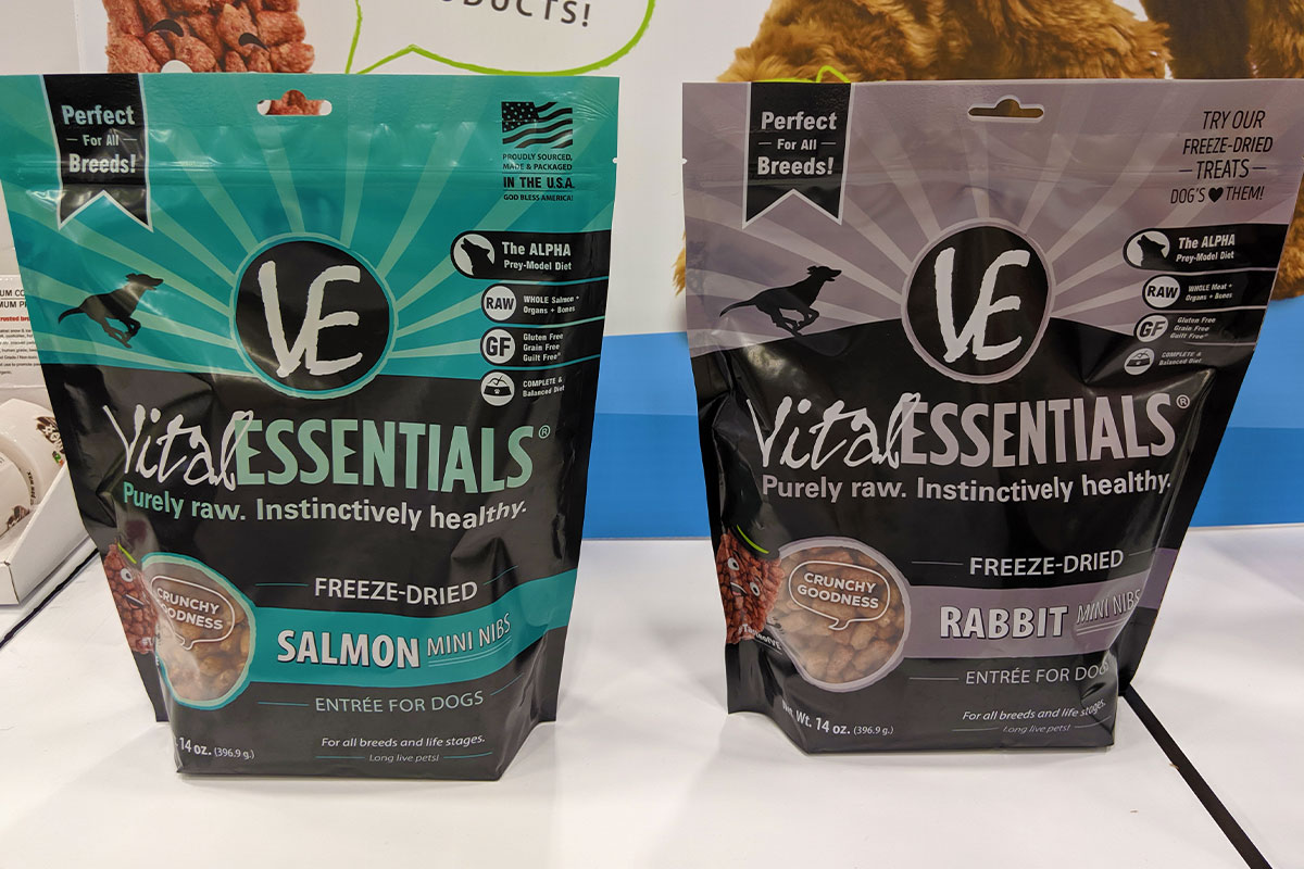 Vital Essentials new salmon and rabbit mini nibs dog foods