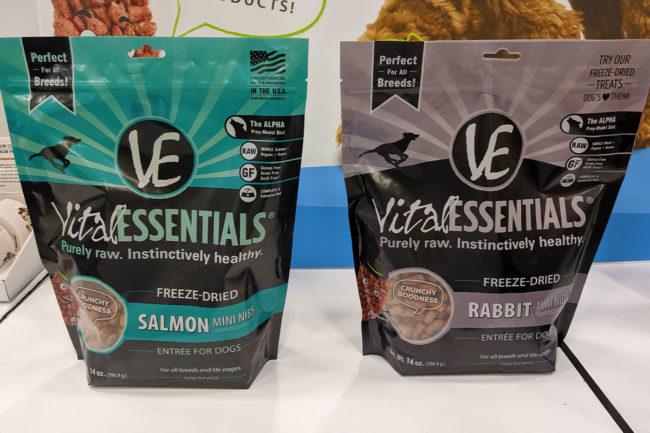 Vital Essentials new salmon and rabbit mini nibs dog foods