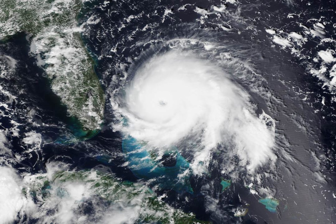 Aerial view of Hurricane Dorian as it passes over the Bahamas.