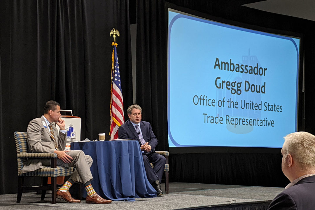 Peter Tabor, vice president of regulatory and international affairs for Pet Food Institute, discusses trade topics with Chief Agricultural Negotiator Gregg Doud with the Office of the United States Trade Representative (USTR).