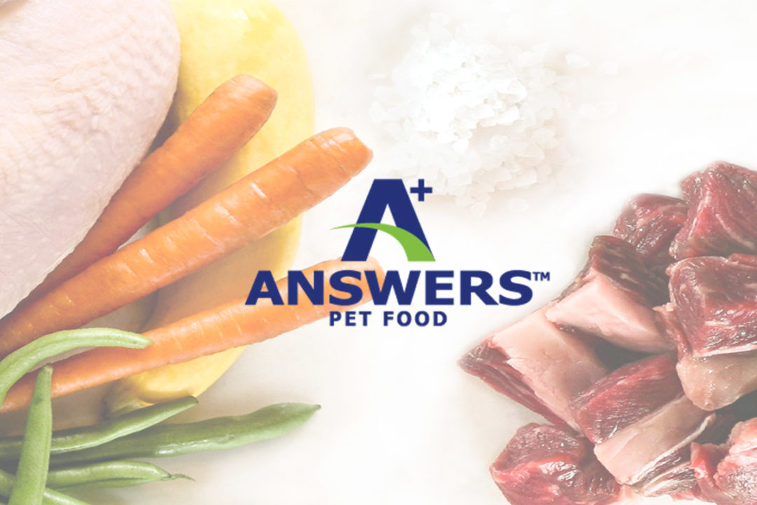 A+ Answers Pet Food logo and raw beef with parsley and salt