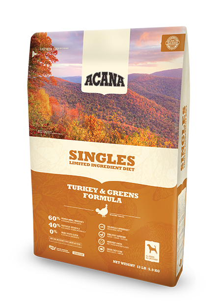 Champion Petfood ACANA Singles, turkey & greens formula for dogs