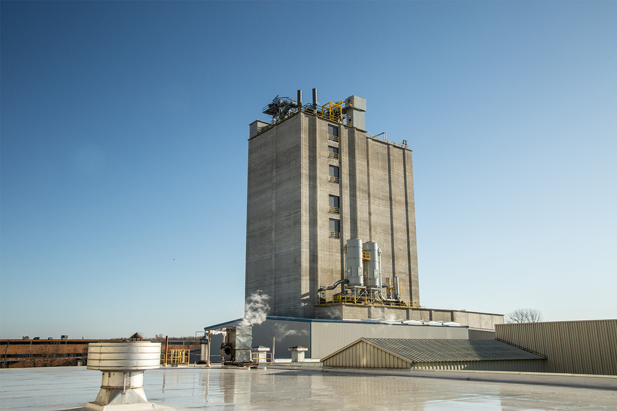 An exterior shot of the 197-ft. tower at ADM's Animal Nutrition facility in Quincy.