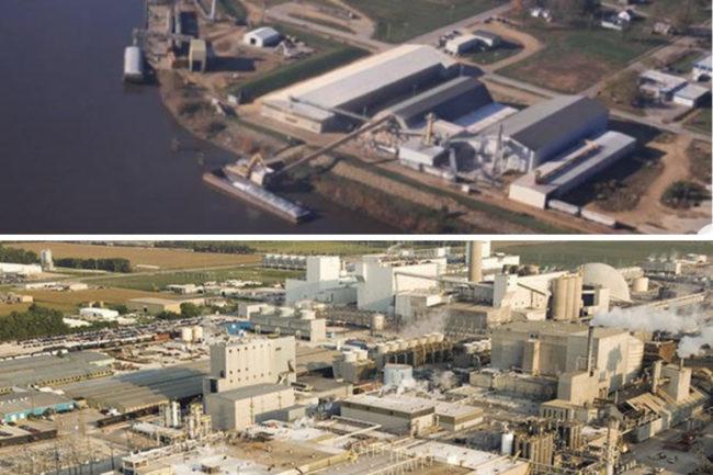 ADM facilities in Clinton, Iowa (top) and Decatur, Illinois