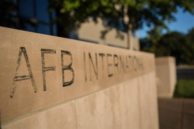 """AFB International"" etched into concrete"