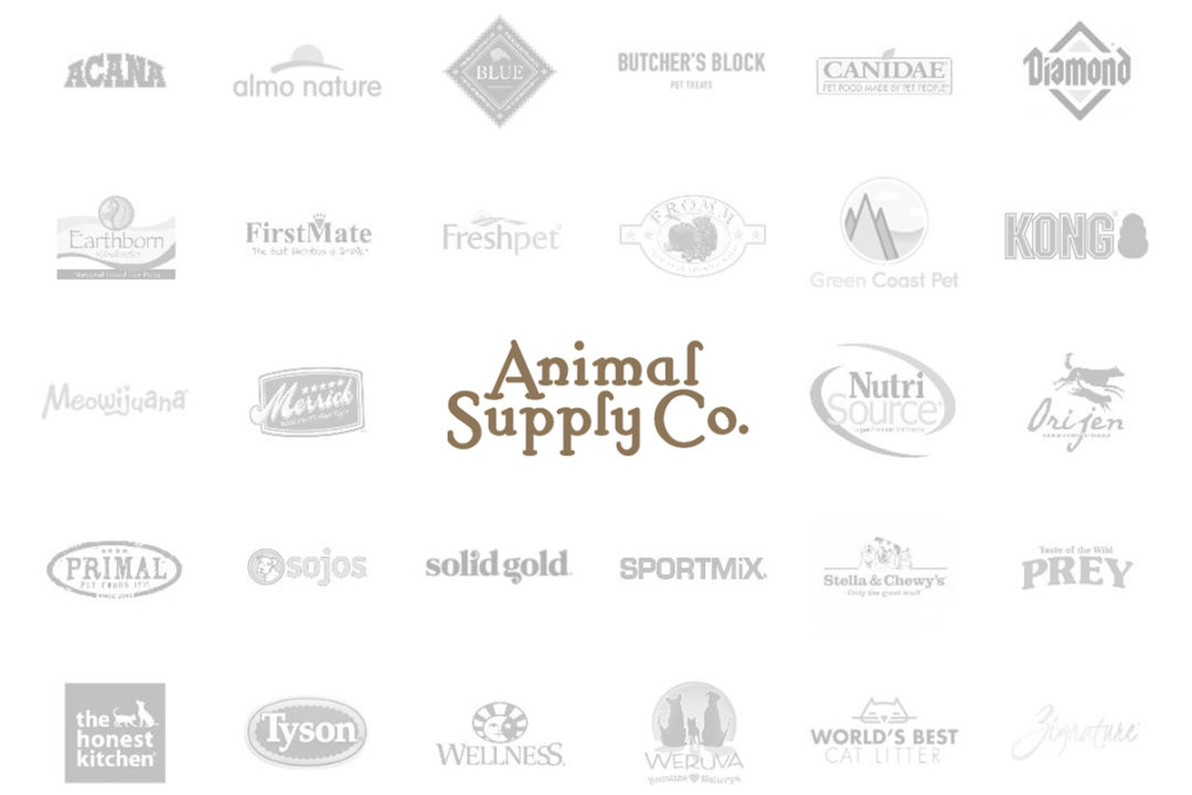 Animal Supply Company logo and selection of distributed pet brands' logos