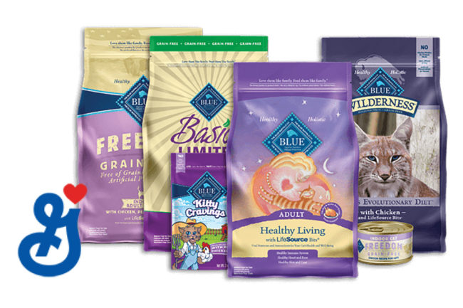 Blue Buffalo cat food packages and General Mills logo