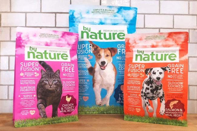BrightPet By Nature products: Chicken & Turkey for cats, Turkey and Duck for dogs, and Salmon and Menhaden Fish for dogs.