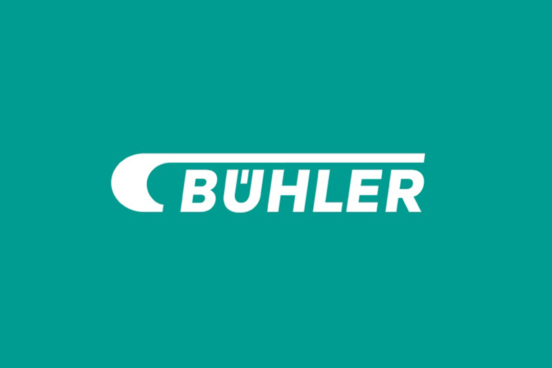 White Bühler logo on seafoam green background