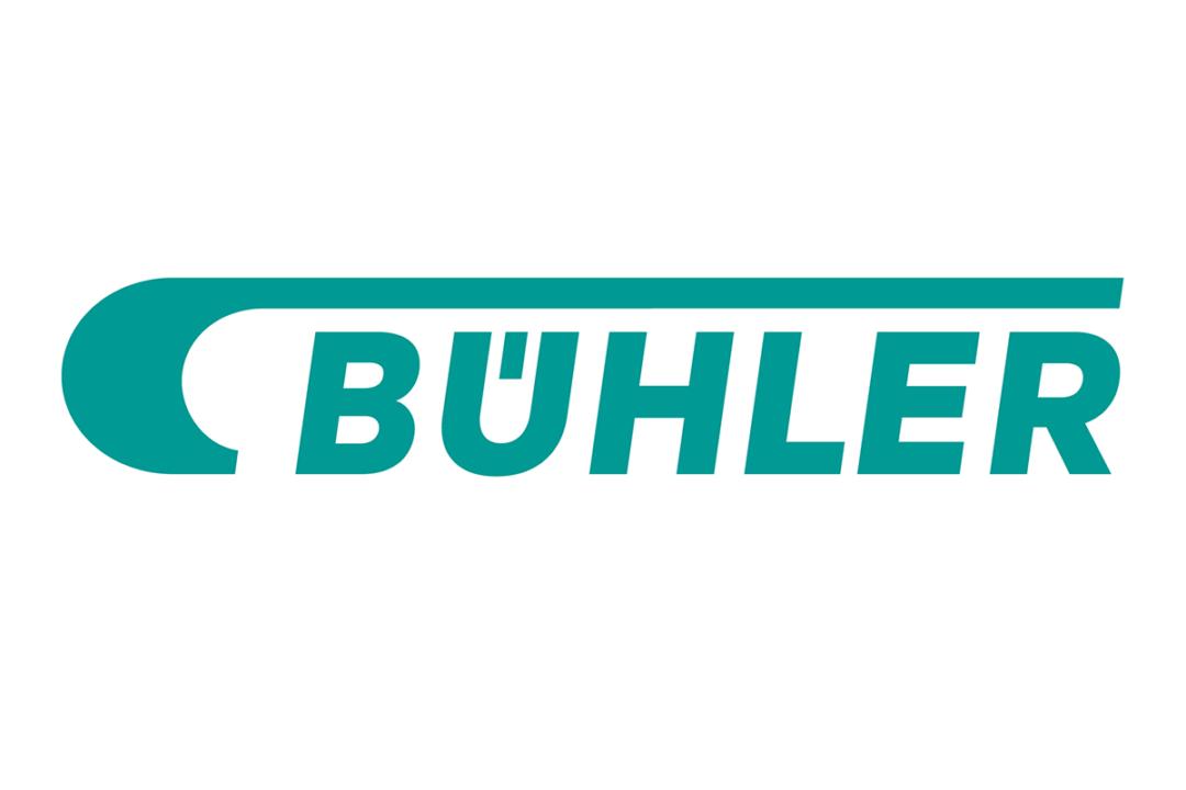 Seafoam green Buhler logo on white background