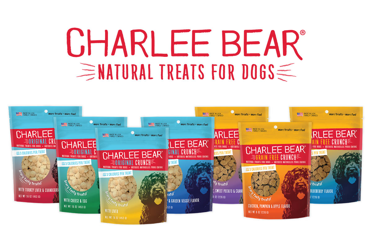 Charlee Bear new packaging for original and grain-free dog treats